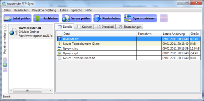 Screenshot van FTP sync
