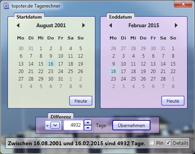 Screenshot van dag calculator