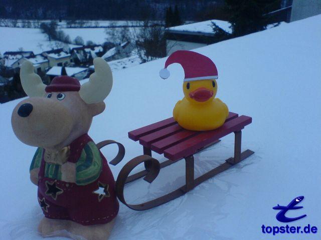 Hoho Hoho, ik breng veel geschenken liefde eenden kinderen met Kerstmis, met mijn Rendier Rudolf