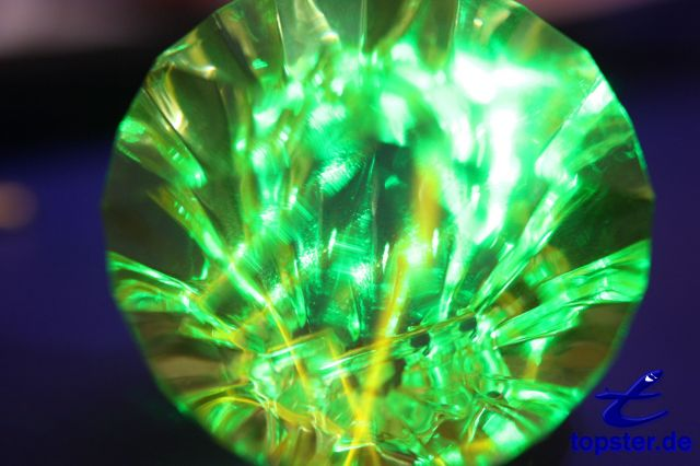 Crystal illuminated by a laser